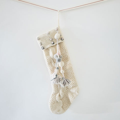 Tassel Hand Knit Stocking