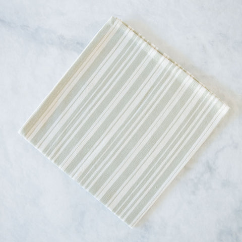 Sage Green Variegated Stripe Cotton Napkins