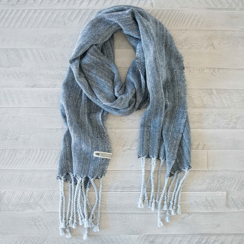 Deep Navy and Blue Handwoven Cotton Scarf