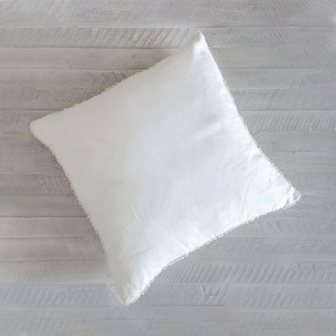 Crisp White Linen Dot Fringe Pillow