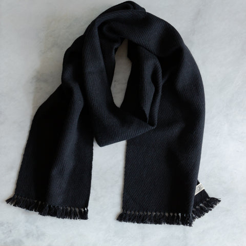 True Black Handwoven Cashmere Scarf