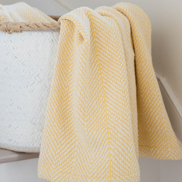 Butter Yellow Handwoven Cotton Baby Blanket