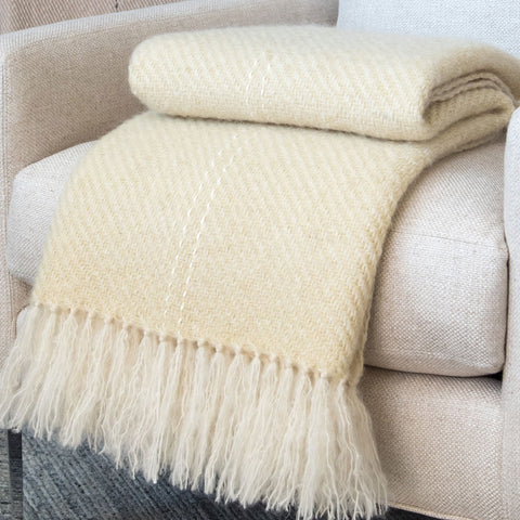 Buttercup Yellow Handwoven Mohair Throw
