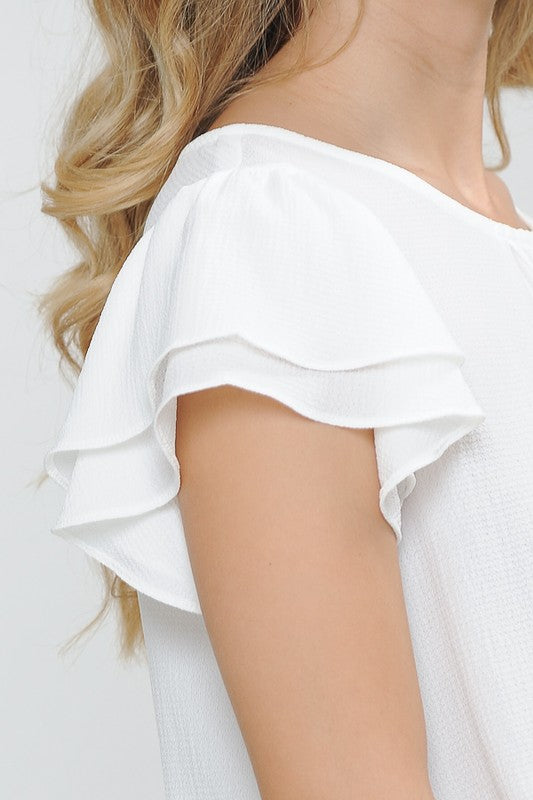 White Tie Back Top