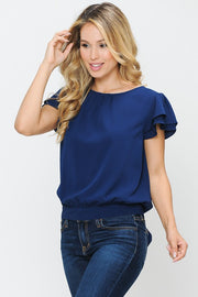 Navy Tie Back Top
