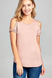 Peach Cold Shoulder Top