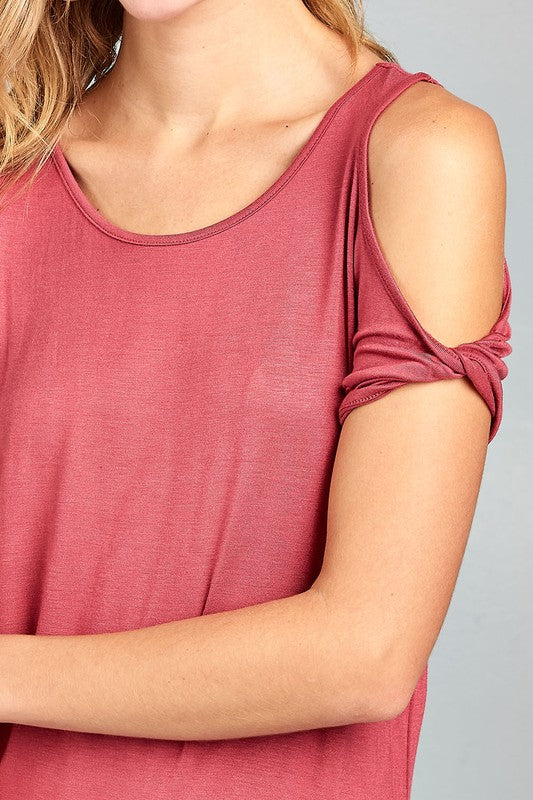 Raspberry Cold Shoulder Top