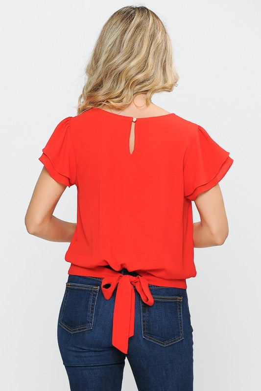 Red Tie Back Top