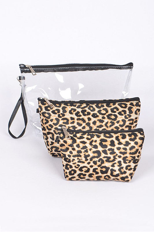 Clear Leopard 3 Pc Clutch Set