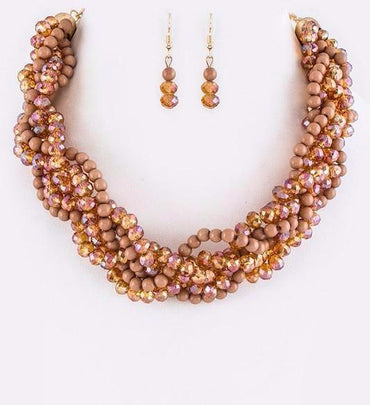 Taupe Loving Braid Necklace Set