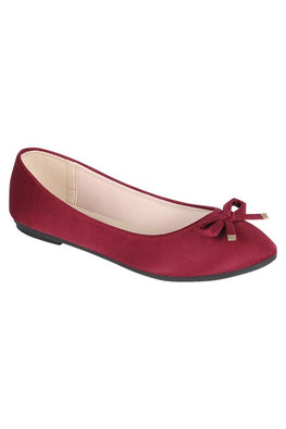 Burgundy Suede Ribbon Flat