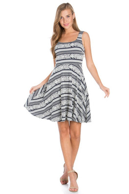 Navy Alluring Stripes Dress
