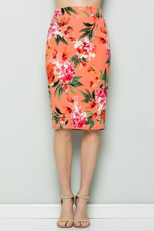 Coral Floral Pencil Skirt
