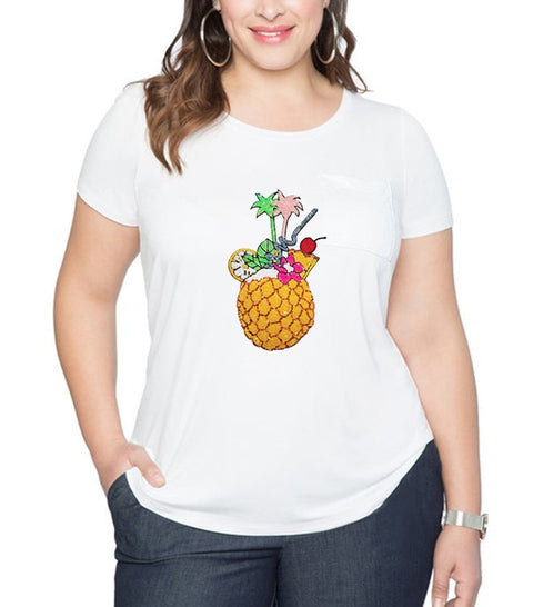 White Tropical Sequins Plus Tee
