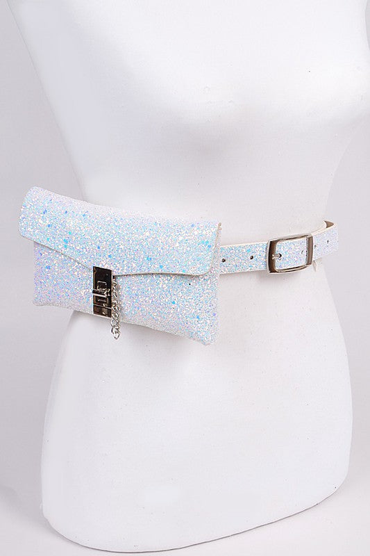 White Glitter Convertible Fanny Pack