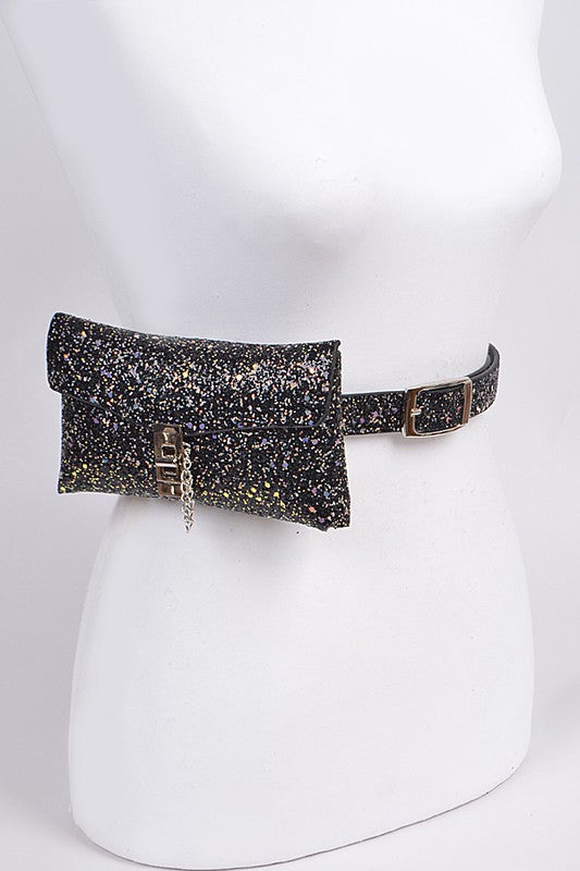 Black Glitter Convertible Fanny Pack