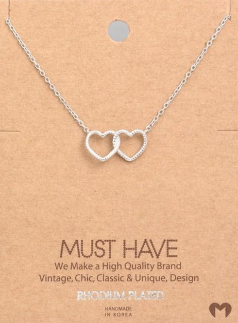 Double The Love Necklace - Silver