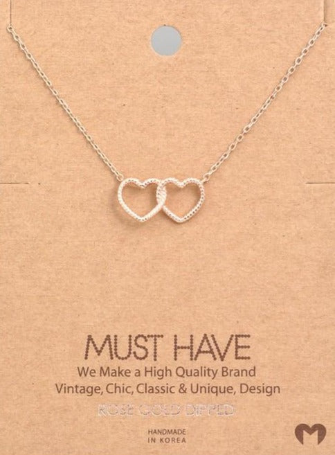 Double The Love Necklace - Rose Gold