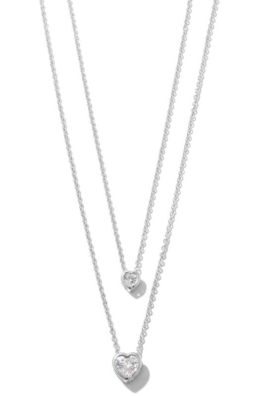 Dainty Hearts Layered Necklace - Silver