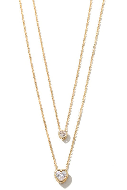 Dainty Hearts Layered Necklace - Gold