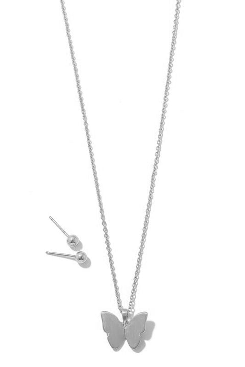 Butterfly Necklace Set - Silver