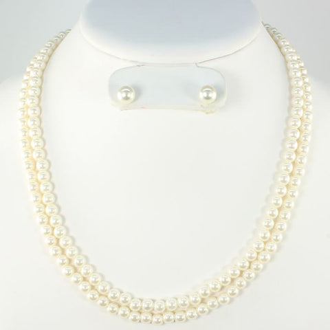 Beige Double Strand Pearl Necklace Set