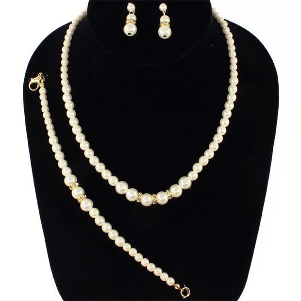 Beige Pearl Necklace Set