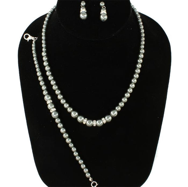 Grey Pearl Necklace Set