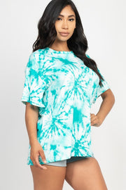 Teal Tie-Dye Oversized Top