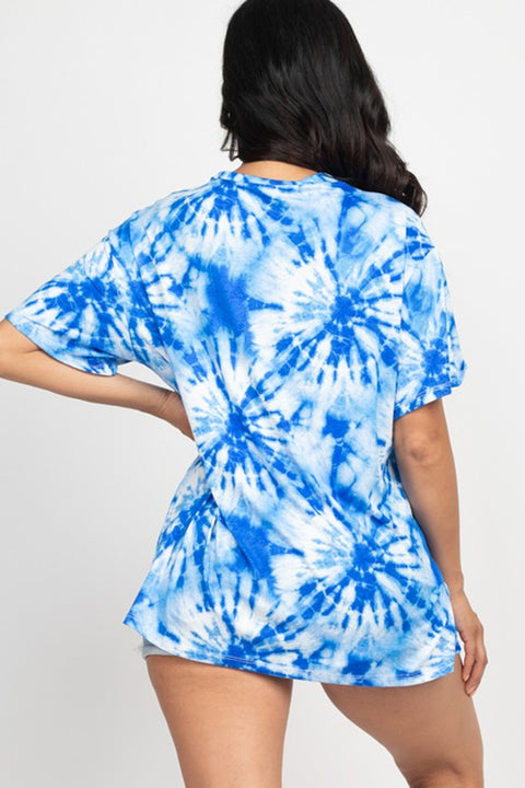 Royal Blue Tie-Dye Oversized Top