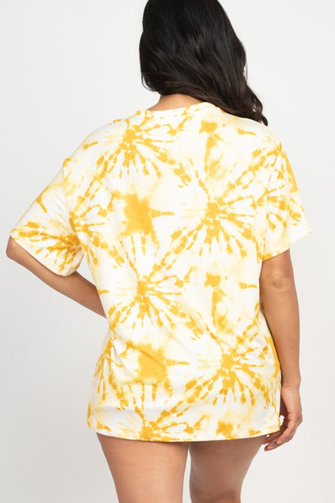 Yellow Tie-Dye Oversized Top