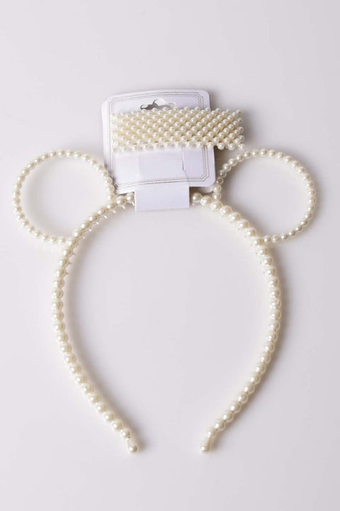 Pearl Bear Ears Headband & Hair Clip Set