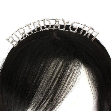 Silver Rhinestone Birthday Girl Hairband