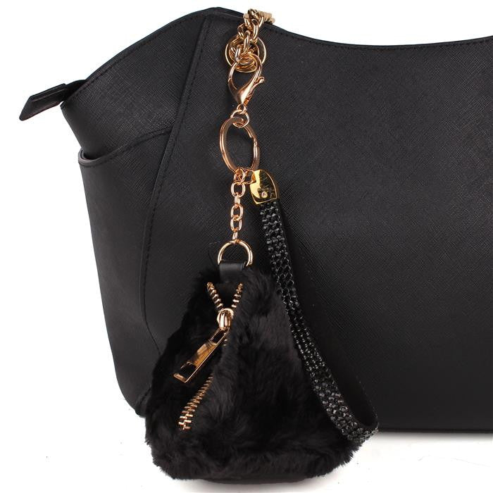 Triangle Fur Bag Key Chain