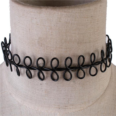 Black Interlocked Metal Choker