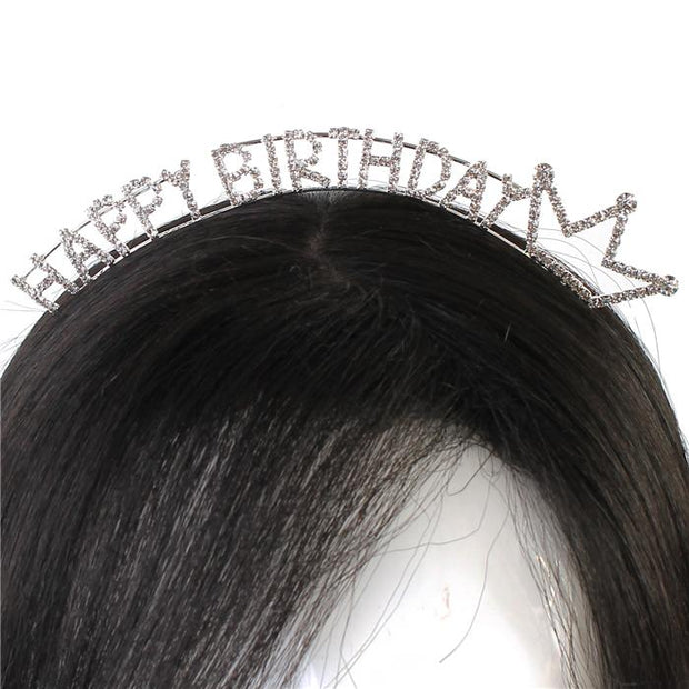 Silver Happy Birthday Crown Headband