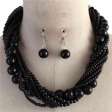 Black Multi Strand Twisted Pearl Necklace Set