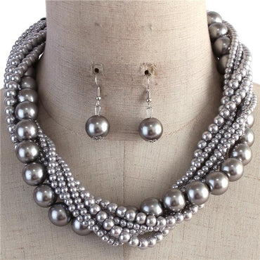 Silver Multi Strand Twisted Pearl Necklace Set