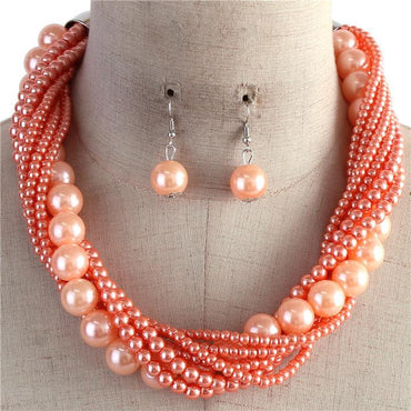 Tangerine Multi Strand Twisted Pearl Necklace Set