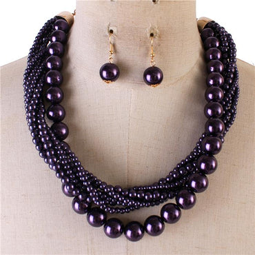 Purple Multi Strand Twisted Pearl Necklace Set