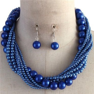 Royal Blue Multi Strand Twisted Pearl Necklace Set