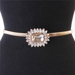 Gold Crystal Flower Stretch Belt