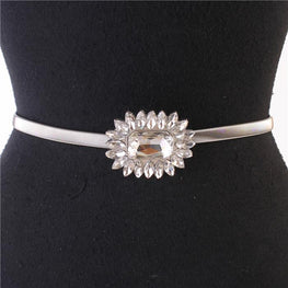 Silver Crystal Flower Stretch Belt