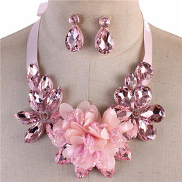 Pink Crystal Flower Ribbon Necklace Set