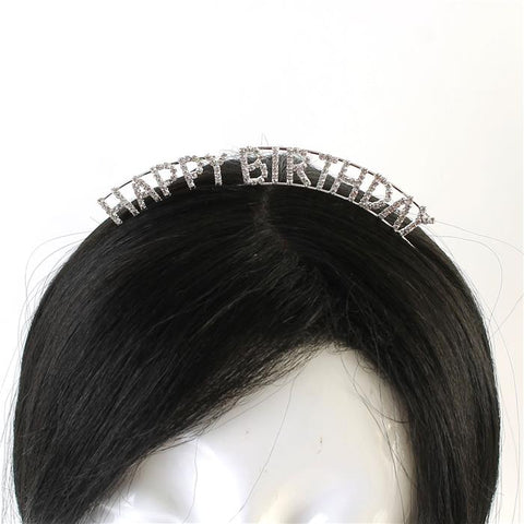 Silver Happy Birthday Headband