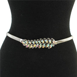 Silver Omega Leaves Stretch Belt