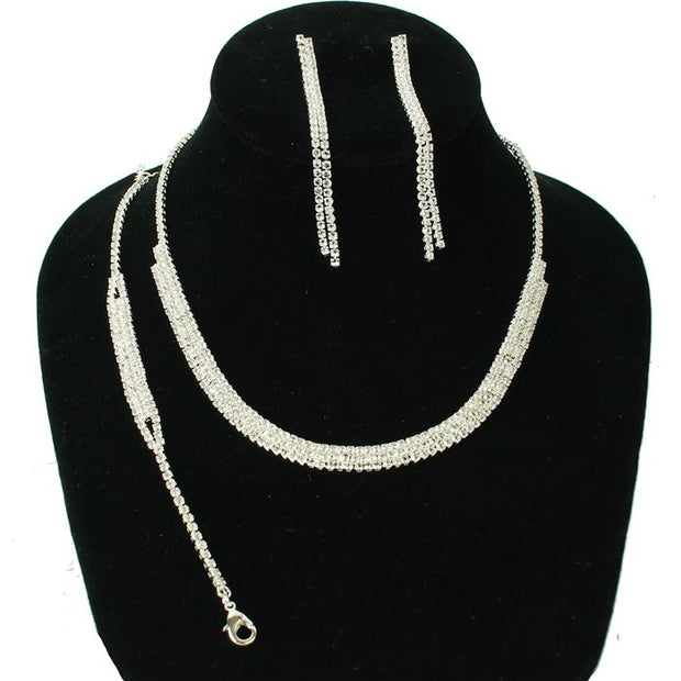 Silver Drop Rhinestone Necklace Set