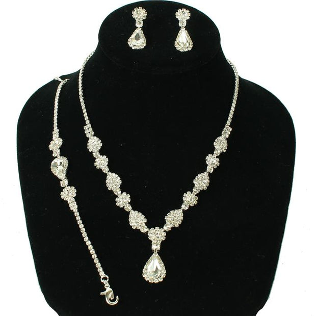 Silver Rhinestone Necklace Set