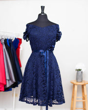 Navy Paisley Plus Dress
