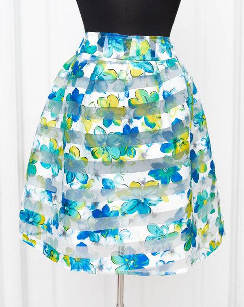 Blue Floral Relaxed Skirt